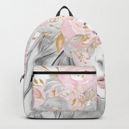 Rose Gold Flowers In Her Hair on Marble Backpack