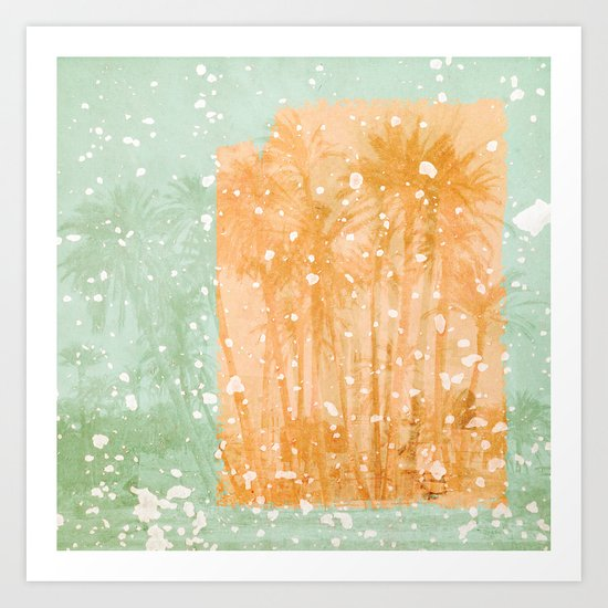 Palm Trees in Teal and Peach Art Print