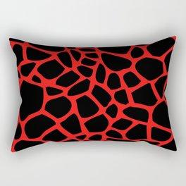 Giraffe Print Pattern (Black On Red) Rectangular Pillow