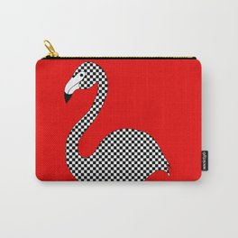 Checkerboard Flamingo Carry-All Pouch