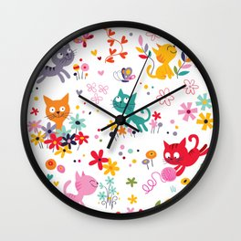 cats playing and flowers Wall Clock