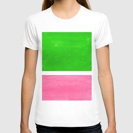 Colorful Bright Minimalist Rothko Color Field Midcentury Vintage Pop Art Petal Pink Leaf Green T-shirt