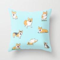 corgi Throw Pillows featuring Corgi by okayleigh