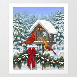 Red Cardinals and Christmas Bird Feeder Art Print