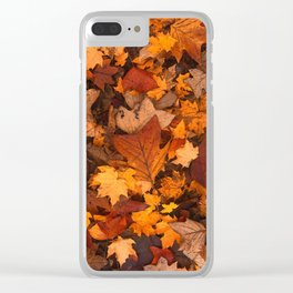 Autumn Fall Leaves Clear iPhone Case
