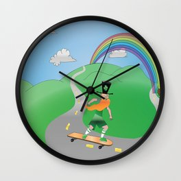 Rusty the Longboarding Leprechaun Wall Clock