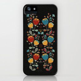 Vintage Ethno Flowers in red, blue, yellow on black iPhone Case
