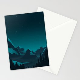 Twilight Teal Mountains Stationery Cards