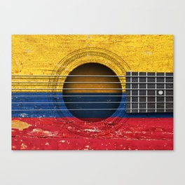 Old Vintage Acoustic Guitar with Colombian Flag Canvas Print