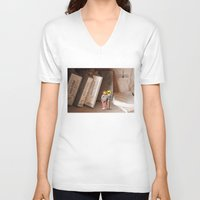 history V-neck T-shirts featuring Remember History by inogitna (Antigoni Chryssanthopoulou)