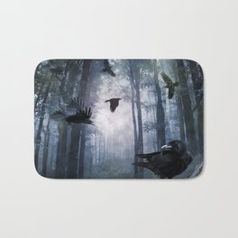 Misty Forest Crows Bath Mat