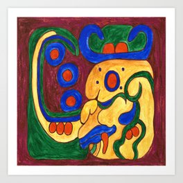 JANAAB PAKAL MAYAN GLYPH Art Print