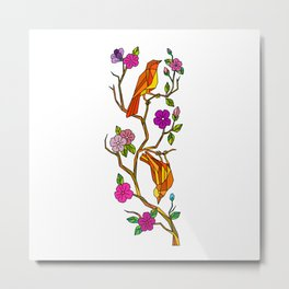 Bird on Cherry Blossom Low Polygon Metal Print