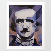 edgar allan poe Art Prints featuring Edgar Allan Poe by Michael Creese