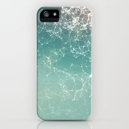 Fresh summer abstract background. Connecting dots, lens flare iPhone Case