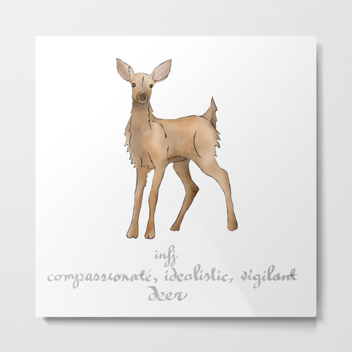 MBTI Spirit Animal Deer INFJ Cute Kawaii Watercolor Print Metal Print