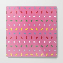 Shimmering colorful sprinkles pattern aligned on pink background Metal Print