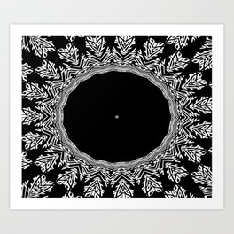 Feathers and Circles Kaleidoscope In Black and White Art Print