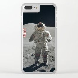 Astronaut on the Moon  - Vintage Space Photo Clear iPhone Case