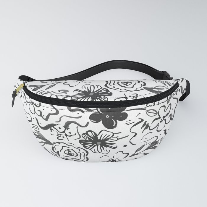 Stylish abstract brush strokes and floral doodles design Fanny Pack