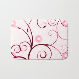 Cranberry Red Swirls and Circles Bath Mat