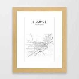 BILLINGS Map Print Framed Art Print