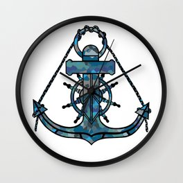 Anchor and Steering Helm [Multicolored 2] Wall Clock