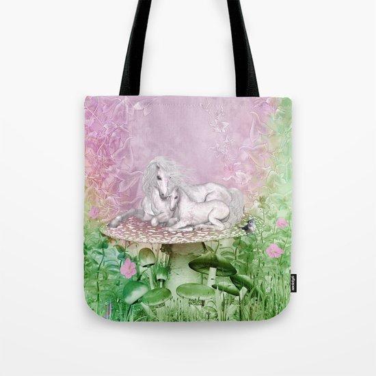 Wonderful unicorn with foal Tote Bag