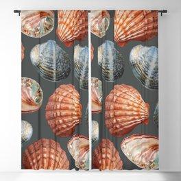 Big Sea Shells dark blue background Blackout Curtain