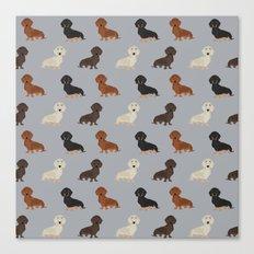 Doxie dachshund dachsie pattern print dog lover dog breed custom dog art by pet friendly Canvas Print