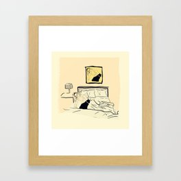 a cat and his mother relax Framed Art Print
