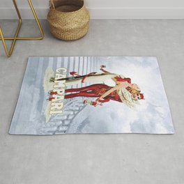 Vintage Campari Italian Bitters Angel and Devil - Stairway to Heaven Advertisement Poster Rug