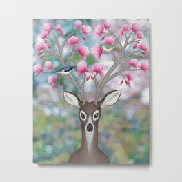 white tailed deer, black throated blue warblers, & magnolia blossoms Metal Print