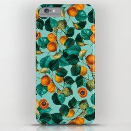 Peach and Leaf Pattern iPhone Case
