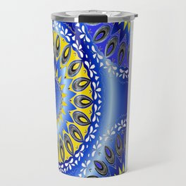 blue and yellow mandala pattern by Saribelle Travel Mug
