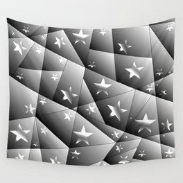 Metallic pattern of chaotic black and white fragments of glass, foil, highlights and silver stars. Wall Tapestry