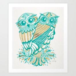 Owls – Turquoise & Gold Art Print