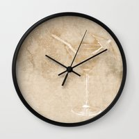 cocktail Wall Clocks featuring Cocktail hour by Wendy Townrow