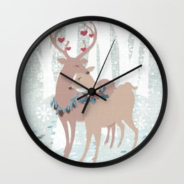 deer love Wall Clock
