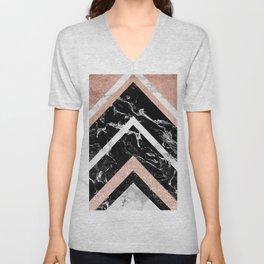 Modern rose gold glitter foil white black marble glitter triangles stripes Unisex V-Neck