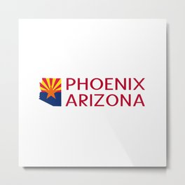 Arizona: Phoenix (State Shape & Flag) Metal Print