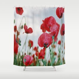 Field of Poppies Against Grey Sky Shower Curtain