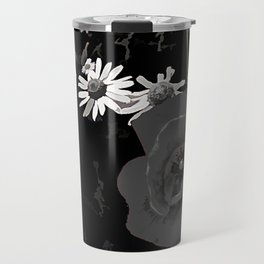 Summer flowers POPPIES, DAIRIES, CORNFOWERS #2 b&w Travel Mug
