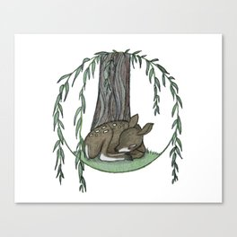 Naptime Under the Willow Canvas Print