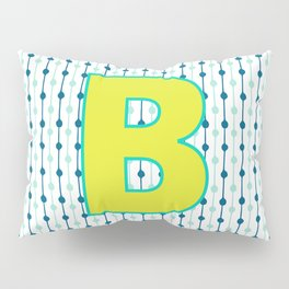 Letter B Monogram Blue, Green and Yellow with Pattern Pillow Sham
