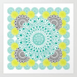 Mint,Yellow, and Black Mandala Pattern Art Print
