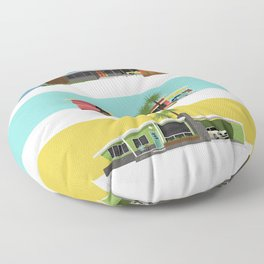 Mid Century Modern Houses 2 Floor Pillow