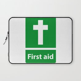 First Aid Cross - Christian Sign Illustration Laptop Sleeve