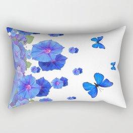 BABY BLUE ART BLUE BUTTERFLIES & MORNING GLORIES Rectangular Pillow