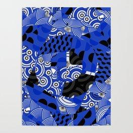 Circles Dots Waves Blue Japanese Inspired Poster